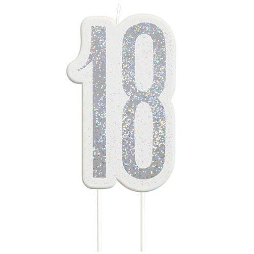 18 Candle -  Silver Glitter Number Candle