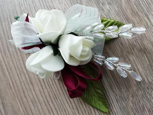 Ivory Rose Corsage / Flower Spray, Burgundy Ribbon, Leaves and Bead Sprays
