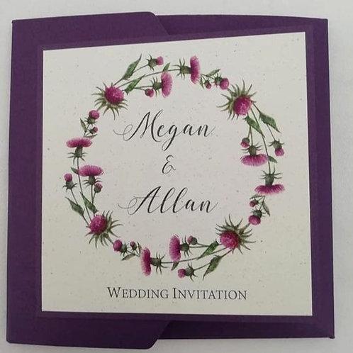 Thistle Wreath Wedding Invitation - Set of 5
