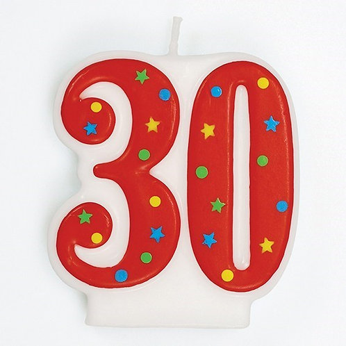 30 Candle - Red Polka Dot Number Candle