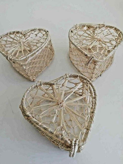 12  x Heart Shaped String Basket Boxes - Crafts, Wedding favours