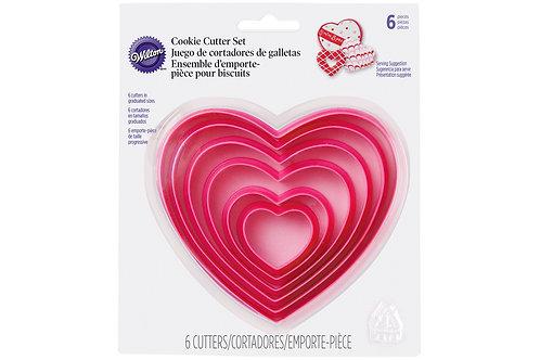 Heart Cookie Cutters, Set of 6 Wilton Plastic Heart Cutters.