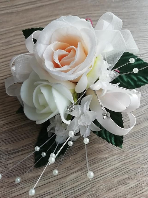 Pale Peach and Ivory Corsage / Flower Spray, Pearls & Diamantes