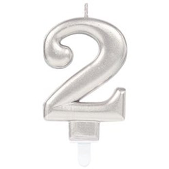 Silver Coloured Number Candles - Amscan - 7.5cm High