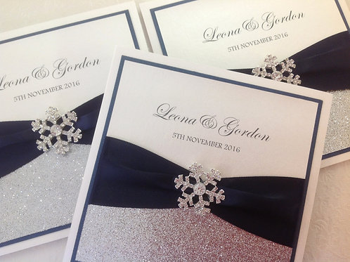 Snowflake Wedding Invitations - Set of 5