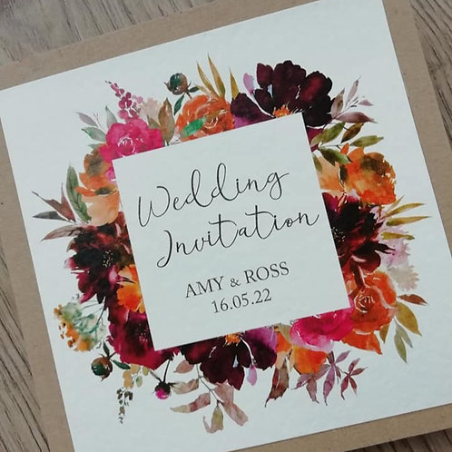 Autumn Bouquet Wedding Invitation - Set of 5