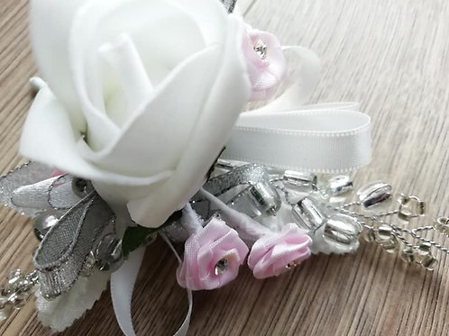 White Rose Corsage / Flower Spray, Beads, Pink Diamante Flowers, Ribbon