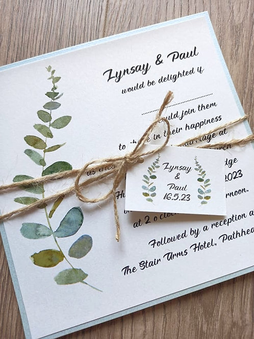 Eucalyptus Spray Wedding Invitation - INV22062101 -  Minimum Order 10
