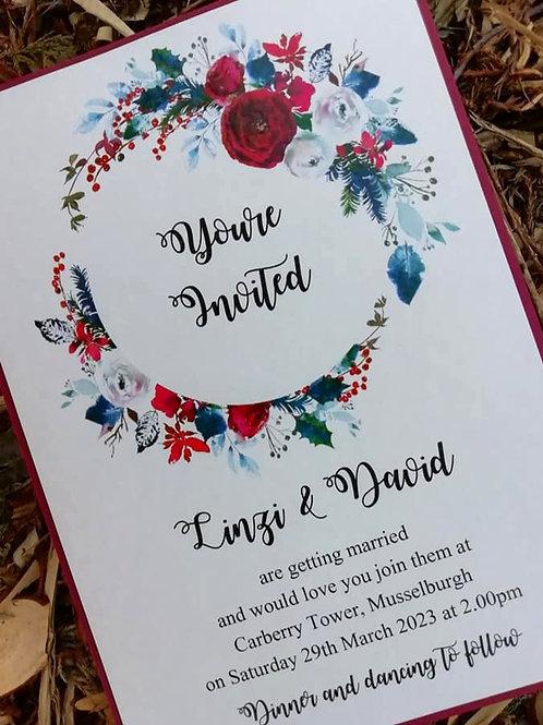 Christmas Grenadine Wedding Invitation  -  Minimum Order 20 -INV22042106