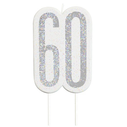60 Candle -  Silver Glitter Number Candle
