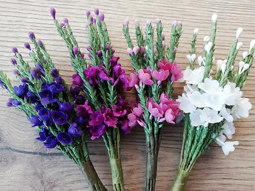 Scottish Heather,  Bunch of 12 Stems, Artificial - Purple, Mauve, Pink & White