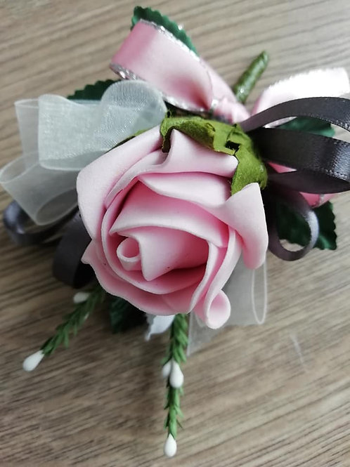 Pink Rose Corsage / Flower Spray - Heather,  Ribbon and a Bow