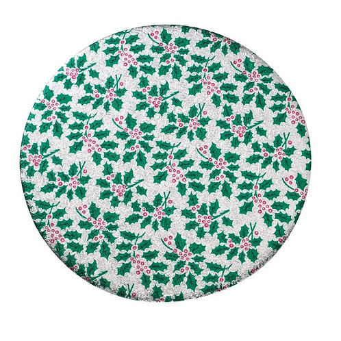 """Round Christmas Cake Board - 6"""" Holly Design - Pack of 5 Boards"""