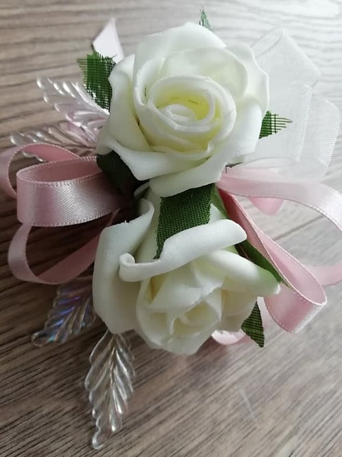 Blush Pink Rose Corsage / Flower Spray with Pearlescent Leaves