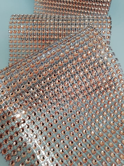 Diamante Ribbon - Rose Gold / Bronze, 11.5cm Wide