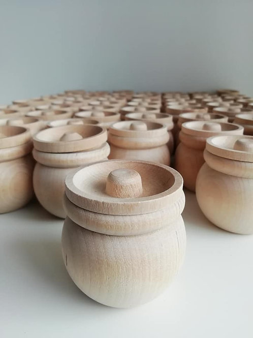 5 x Wooden Pot with Lid -  Wedding Favours or Crafts.