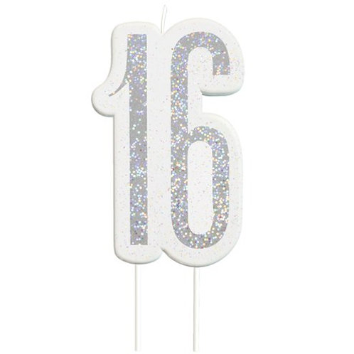 16 Candle -  Silver Glitter Number Candle