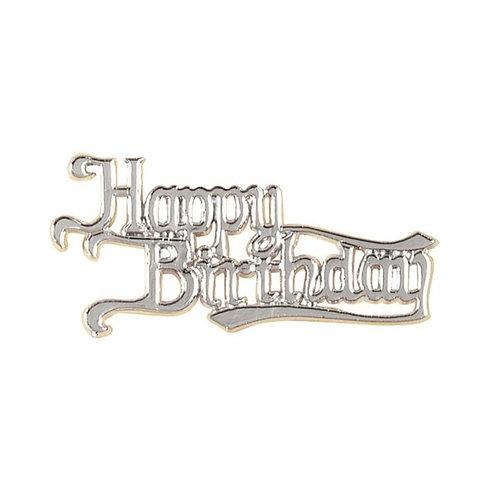 Happy Birthday Silver Coloured Motif