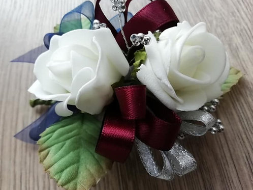 Rose Corsage / Flower Spray,  Burgundy, Navy and a Touch of Silver Ribbon