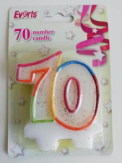 70 Birthday Candle, Multicoloured