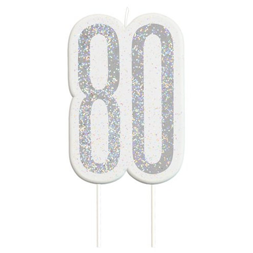 80 Candle -  Silver Glitter Number Candle