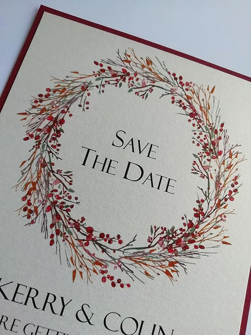 Red Berry Save The Date Card - SAVE2604211 - Minimum Order 10