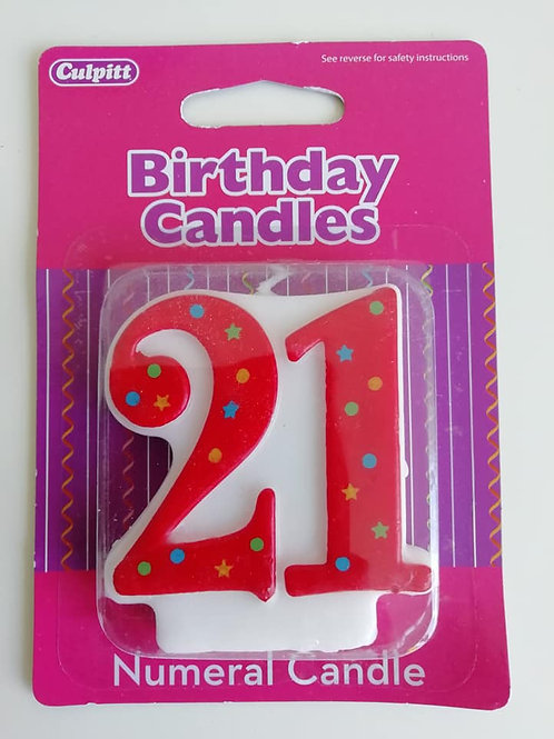 21 Candle - Red Polka Dot Number Candle