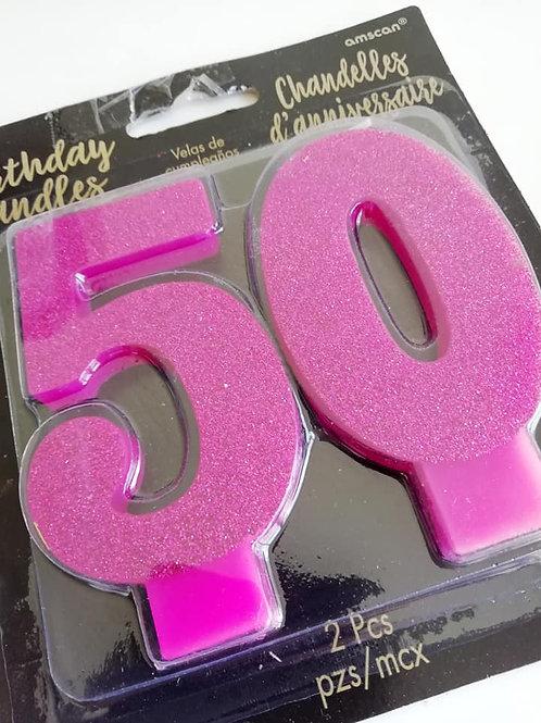 5 & 0 Cake Candles, Pink