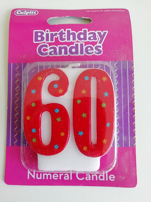 60 Candle - Red Polka Dot Number Candle