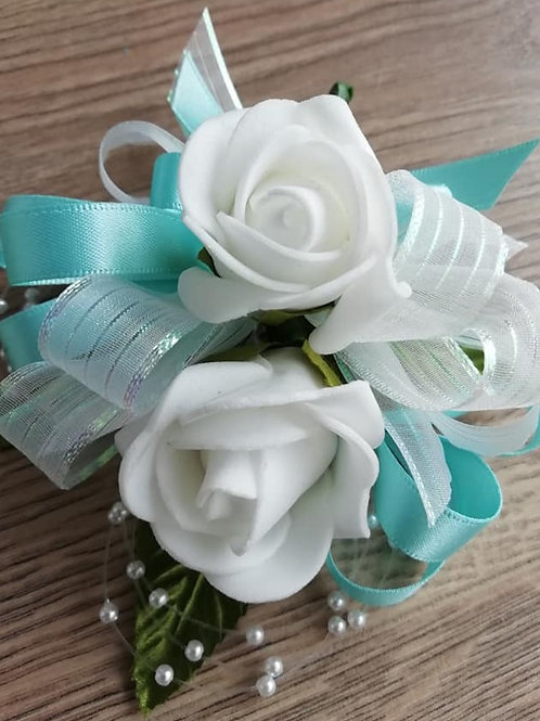 White and Blue Corsage / Flower Spray