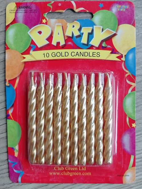 Gold Coloured Birthday Cake Candles - Pack of 10
