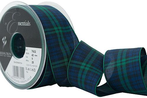 Black Watch Tartan Ribbon - 1 Meter x  40mm, Berisfords