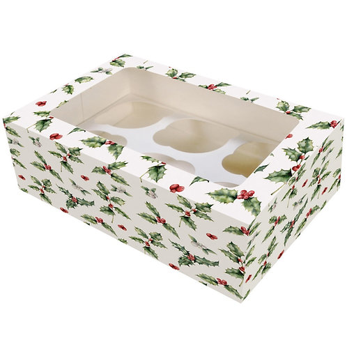 Cupcake Boxes -  Vintage Holly, Christmas, set of 10 or 20