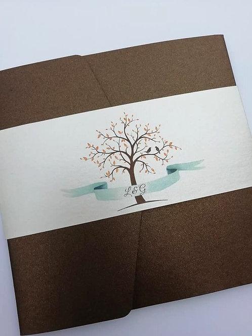 Tree of Love Wedding Invitation - Set of 5