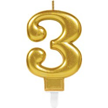 Gold Coloured Number Candles - Amscan - 7.5cm High