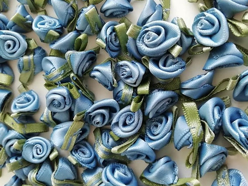 Mid Blue Ribbon Roses - Small