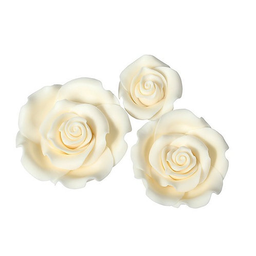 Ivory / Cream Sugar Roses - Pack of 12 Assorted.