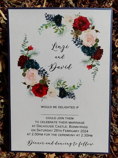 Navy & Burgundy Floral Wedding Invitation  -  Minimum Order 20 - INV2304232