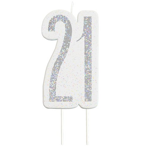 21 Candle -  Silver Glitter Number Candle