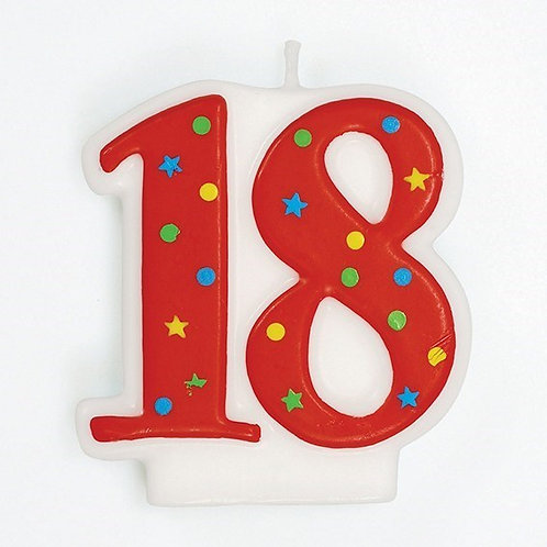 18 Candle - Red Polka Dot Number Candle