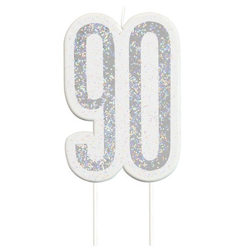 90 Candle -  Silver Glitter Number Candle