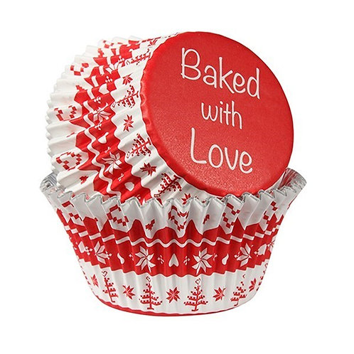 Baked With Love - Red Nordic Cupcake Cases - Pack Of 25