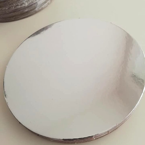 """Pack of 25 - 10"""" Round Silver Cake Card, Silver / White Reverse - 1.5mm Thick"""