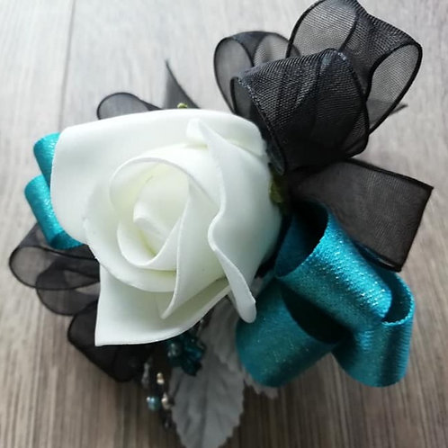 Rose Corsage / Flower Spray - Black and Teal