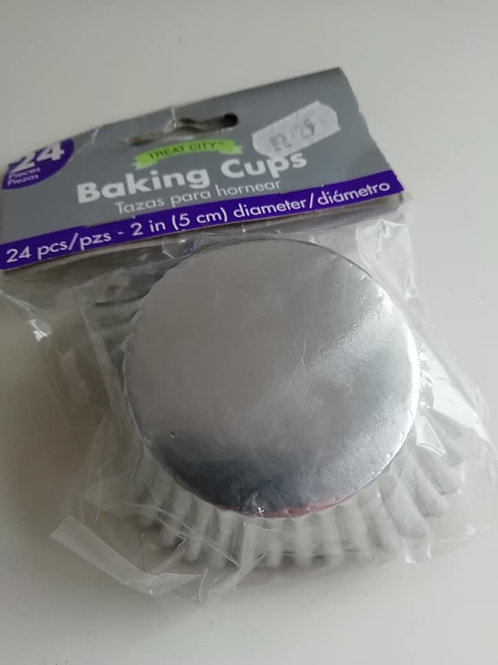 24 Silver Coloured Baking Cups - Treat City