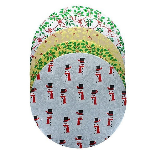 """10"""" Round Christmas Cake Boards -  Pack of 5 Boards"""