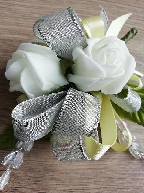 Rose Corsage / Flower Spray - Silver & Lemon with Bead Sprays