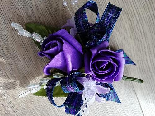 Purple Rose Corsage or Flower Spray - Leaves, Tartan Ribbon, Pearls