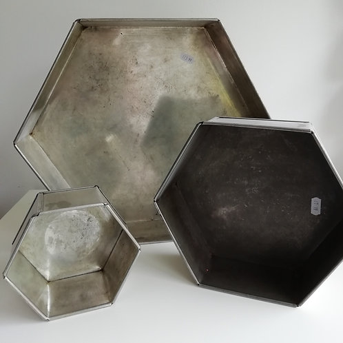 Hexagonal Cake Tins - EXHIRE Invicta Tins - Sold as seen