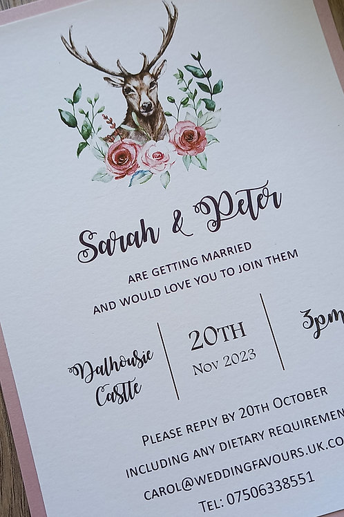 Stags Head and Floral Wedding Invitation - INV2608212 -  Minimum Order 1